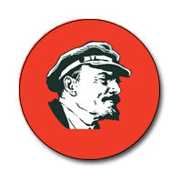 "Lenin 1"" Button (Black and White on Red)"