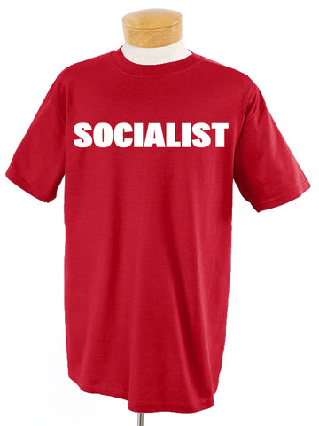 Socialist White on Red T-Shirt