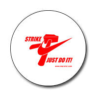 "Strike Just Do It! / Nike Logo 1"" Button (Red on White)"