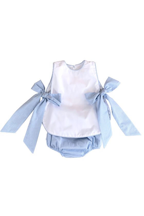 Charlotte Tied Bib Set Blue