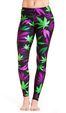 Purple & Green Weed Print Leggings! - Miss Mary Jane Co.