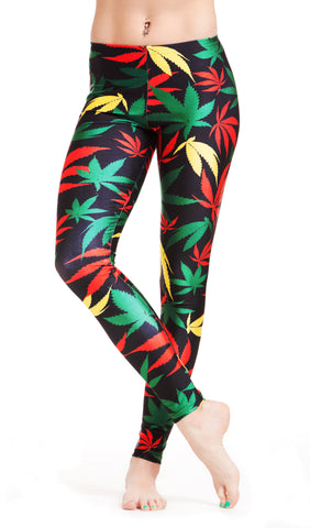 Rasta Weed Print Leggings! - Miss Mary Jane Co.