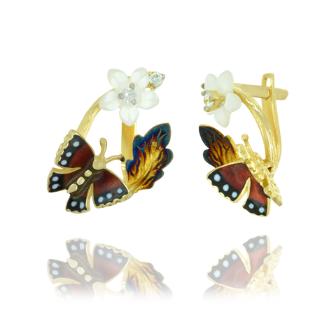 Glowing Blossom with Butterfly Earrings
