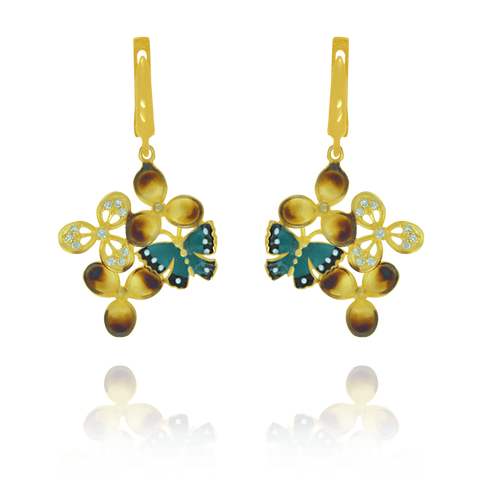 Ember Blossom Earrings with Butterfly