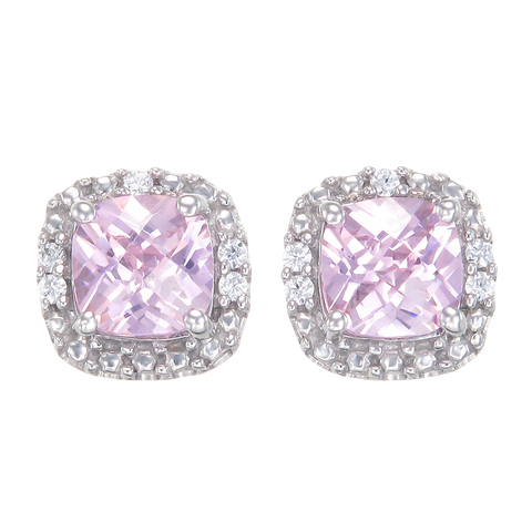 Dazzling Pink Earrings with Sparkling Halo