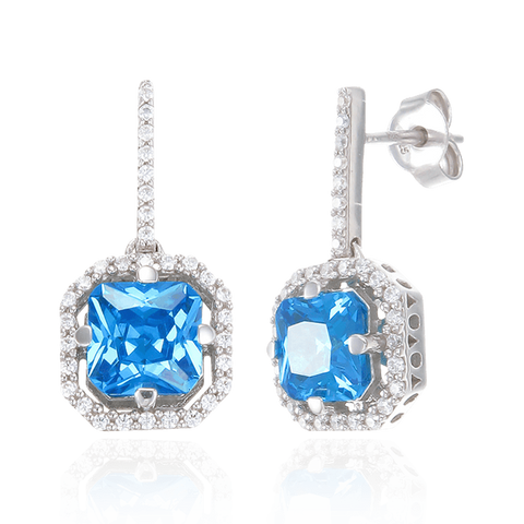 Elegant Sparkling Blue Drop Earrings with Halo