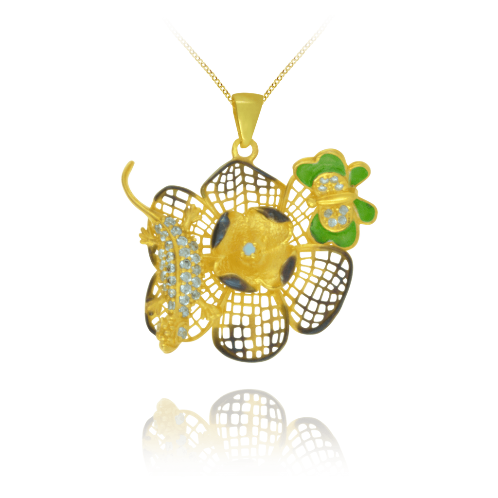 Golden Filigree Flower Pendant