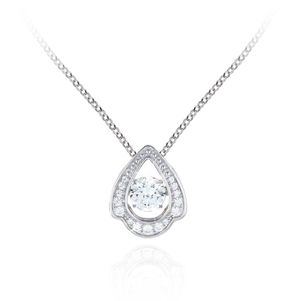 Large abstracted Tear design Pendant with Swarovski Zirconia