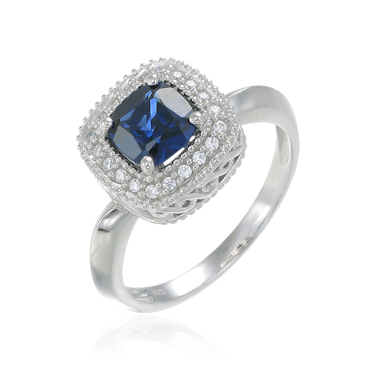 Sapphire Ring with Radiant Accents