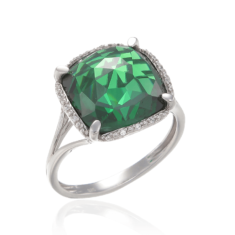Cushion Cut Emerald Green Ring