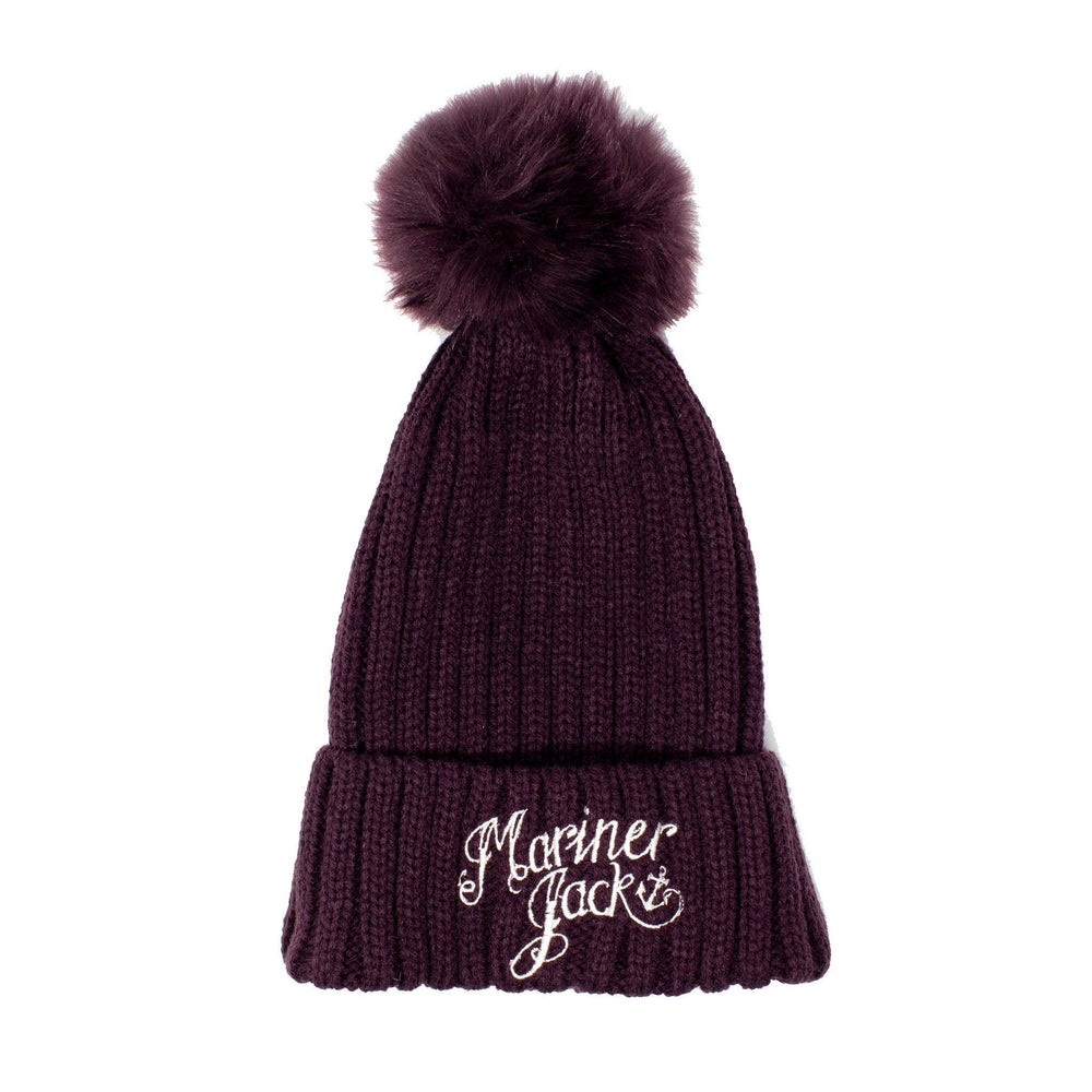Kids/Teen Mariner Jack Embroidered Bobble Hat - Plum