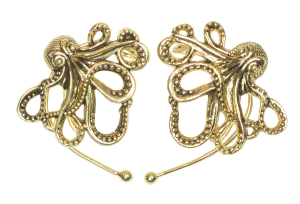 Medieval Metal - Elf Cuff Cthulhu Gold Front View (EF25-G)