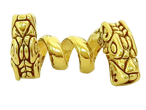 New! Double Headed Dragon Hair Bead - Gold