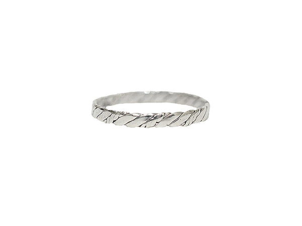 Thin Rope Band Ring - Sterling Silver