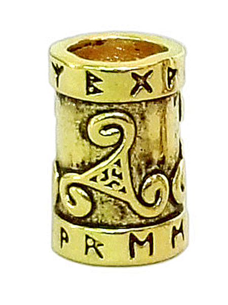 New! Rune Spiral Hair Bead - Gold