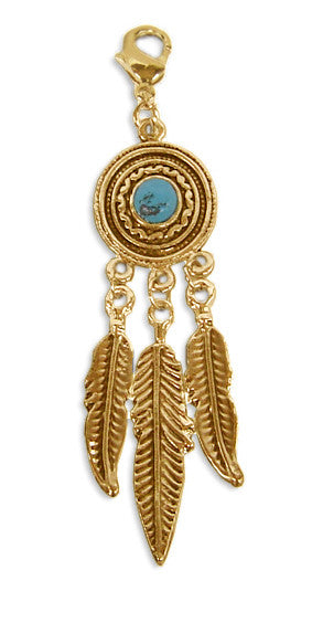 Charm Large Gold - Dream Catcher Feathers