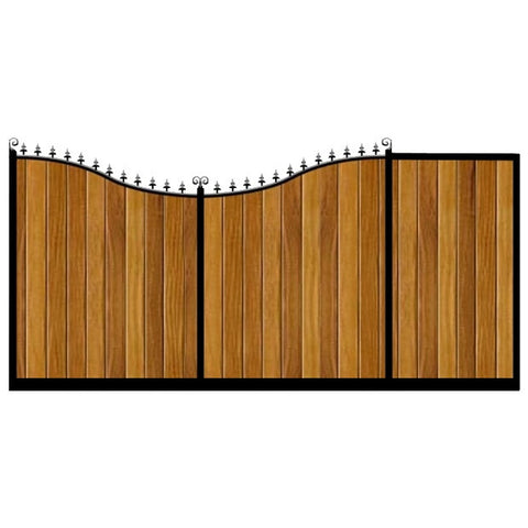 Sweeping inner bow. The Portsmouth Sliding gates combines a deep frame with Iroko hardwood cladding.