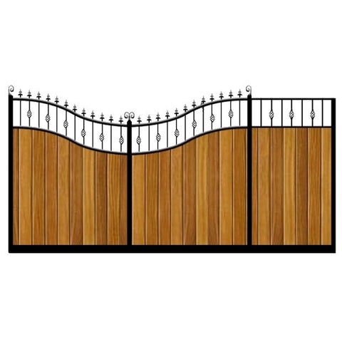 Westfield Sliding Gates. Bespoke sizes, handcrafted in the UK. Deep metal framed with the finest timber infill. Feature double inner swan neck design.