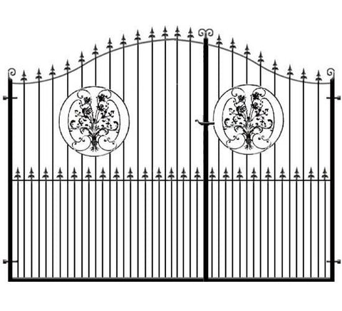 3/4 Split Wrought Iron Estate Gates - The Buckinghamshire. Feature rose inset with a choice of header options. Made to measure in the UK to any size.