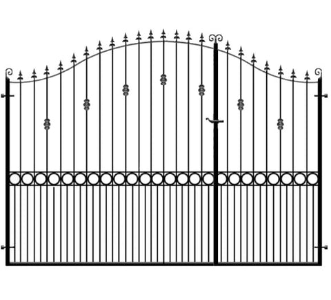 Farnham 3/4 Split metal entrance gates. Manufactured in the UK to any width or height.