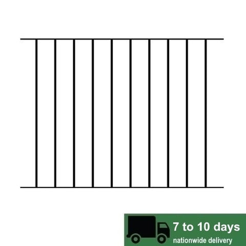 Tall Metal Fencing - The Gillingham. Flat top with vertical dog bars. A simple yet attractive iron fence panel.