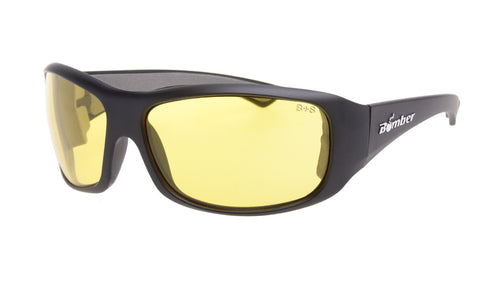 BLACK FRAME SAFETY GLASSES WITH YELLOW LENS