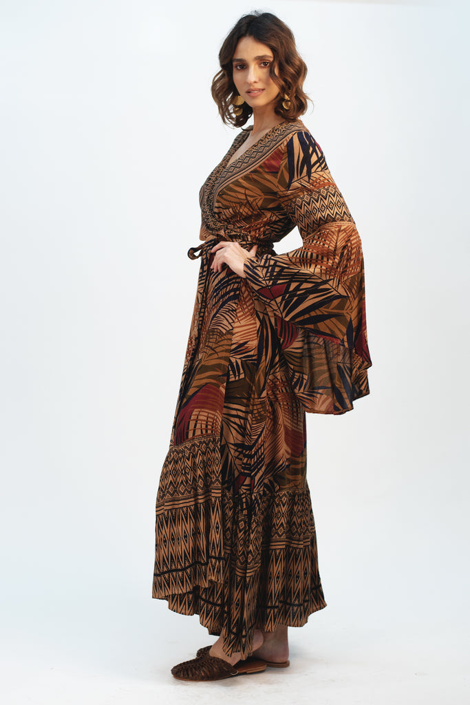 Dark Oriental Maxi Dress - Z&L Europe