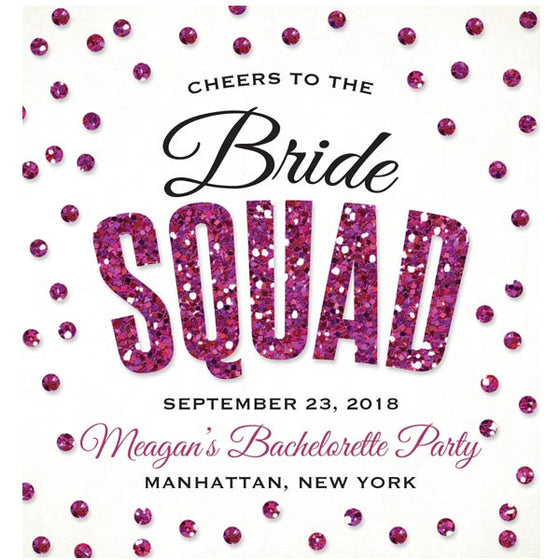 Hot Pink Glitter Look Confetti Bachelorette Party Wine Labels by The Spotted Olive