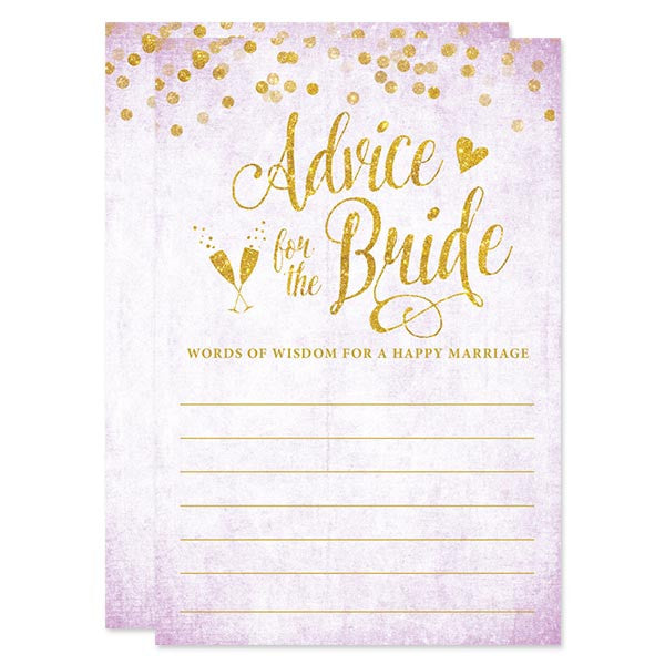Lavender & Gold Confetti Advice for The Bride Cards by The Spotted Olive