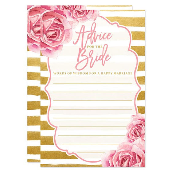 Pink Roses & Gold Stripes Bridal Shower Invitations by The Spotted Olive