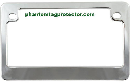 Phantom Tag Protector Chrome Metal Motorcycle License Plate Frame