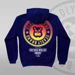 Deadly Brand fade hoodie navy yellow to red back print
