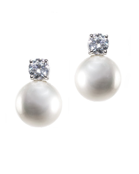 Classic Pearl and CZ Clip Earrings