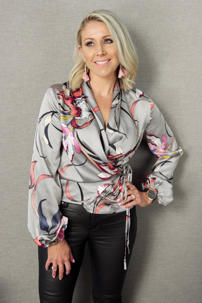 Oracle Wrap Blouse in Exotic Silver