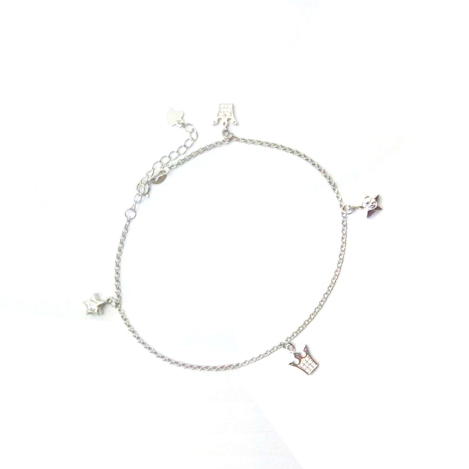 Magnificent Stars and Crowns Silver Anklet