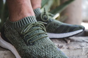 "Olive/Black Rope Laces - 36"" Length on Adidas Uncaged Ultraboost"