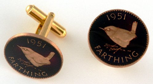 Hand Painted England Farthing Coin Cufflinks (Black Background)
