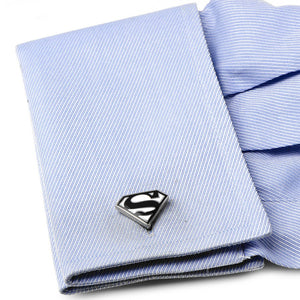 Enamel Black and White Superman Shield Cufflinks