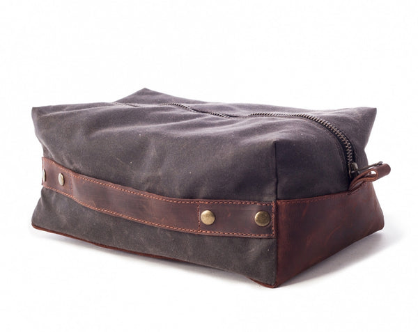 Men's Waxed Canvas Leather Dopp Kit - Gray w/ Brown