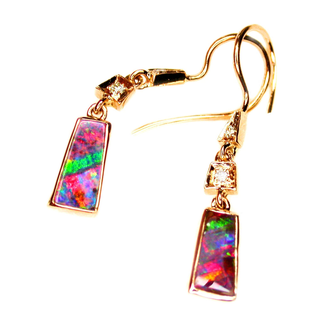 Red Green Boulder Opal Drop Earrings