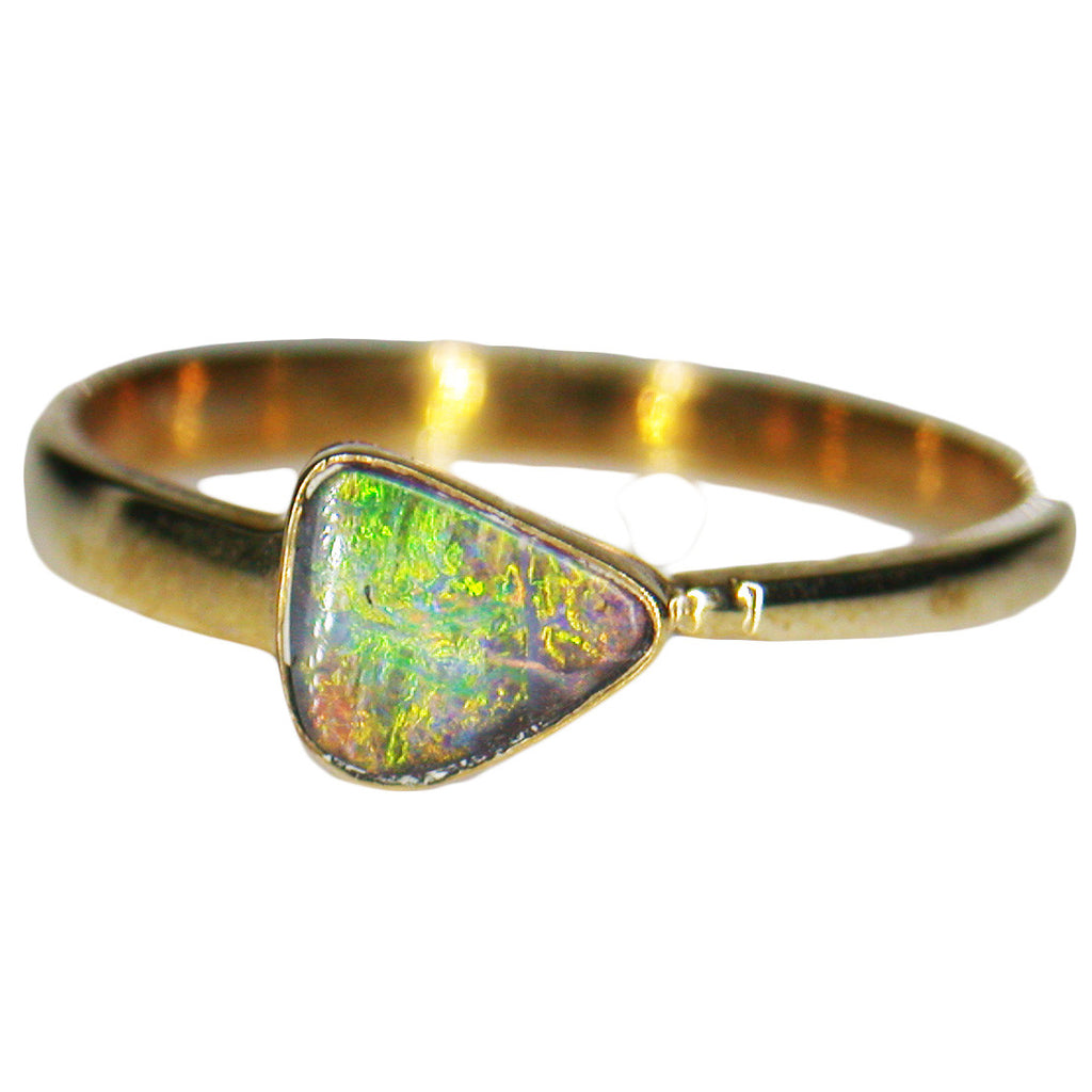 Green Orange Boulder Opal 9k Gold Ring