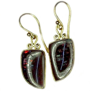 Red multi colour matrix drop earrings