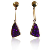Violet boulder opal 9k drop earrings