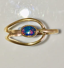 Red Multi Coloured solid  boulder opal from Quilpie , 10K Ring