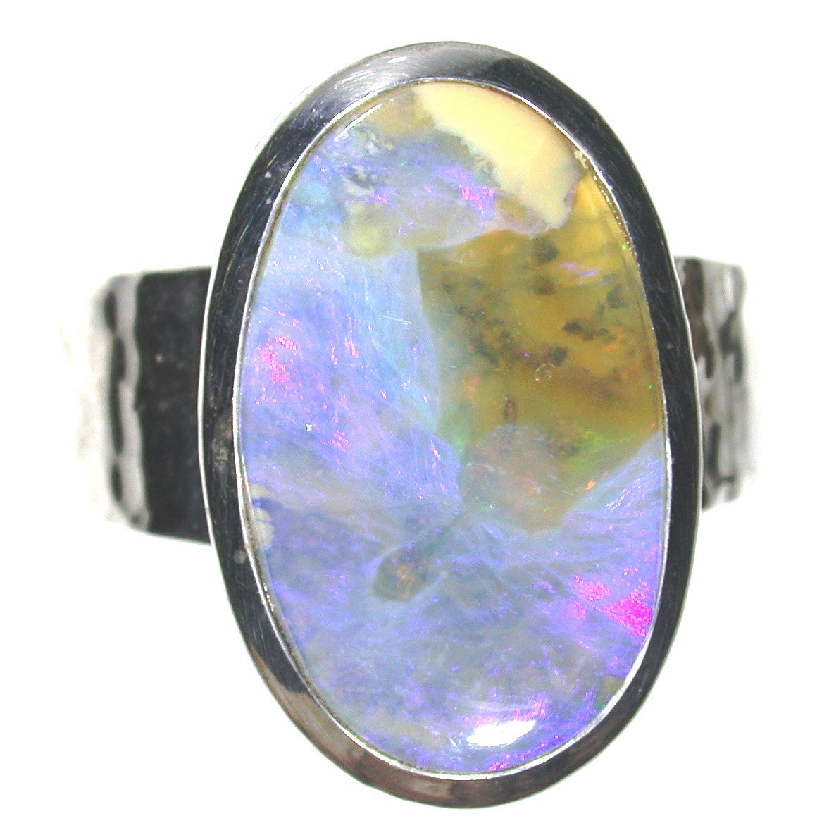 Cloudy blue sky opal sterling silver ring