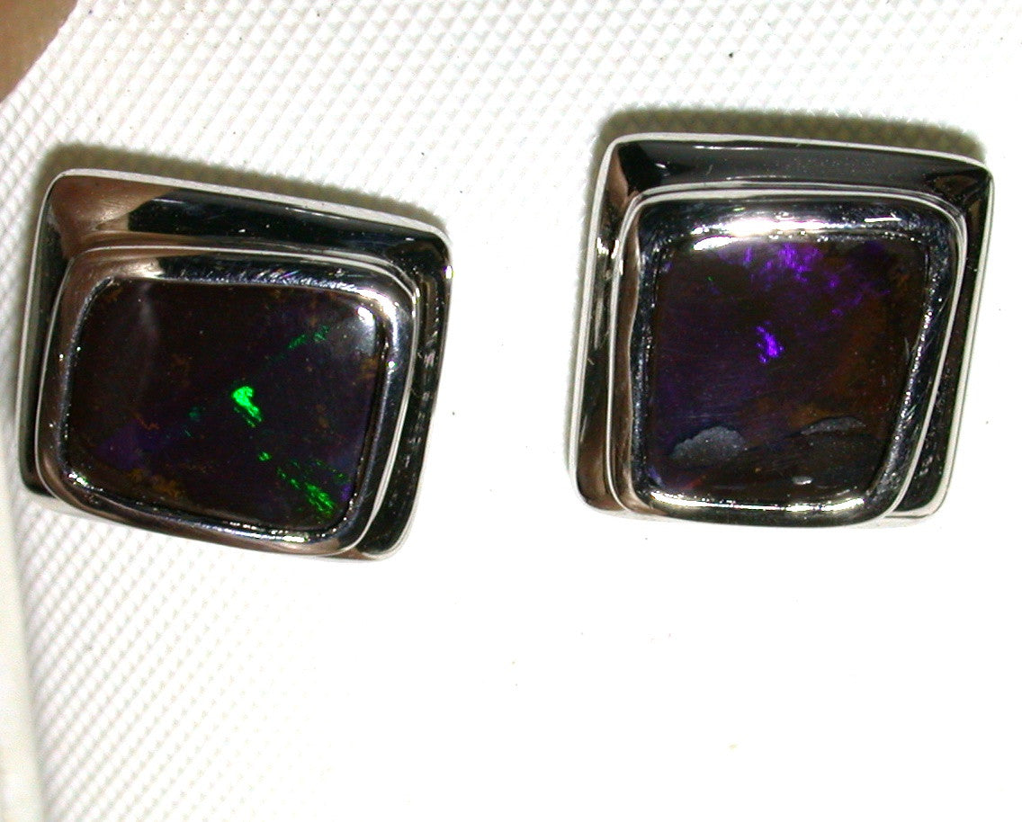 Violet green solid boulder opal studs earrings