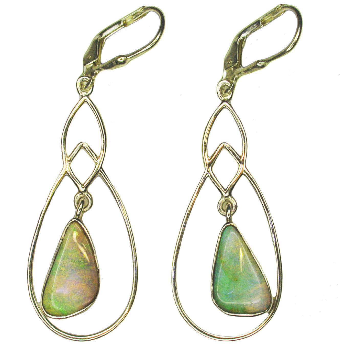 Light Green Orange Boulder Opal Earrings