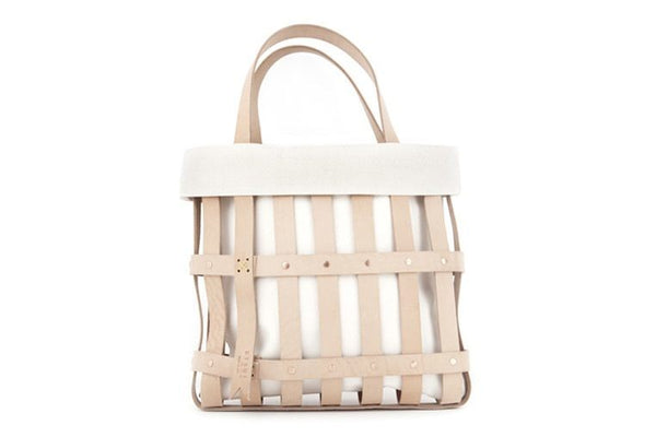 BYAMT - Leather Strap Tote w/ Canvas Liner for Leather Strap Tote - NATURAL WHITE - Eclectic Cool  - 3