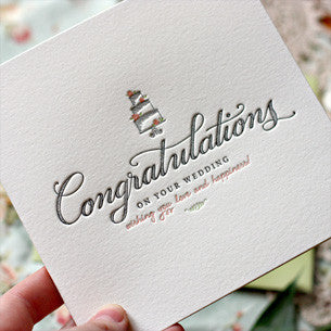 BESPOKE LETTERPRESS GREETING CARD - CONGRATULATIONS ON YOUR WEDDING
