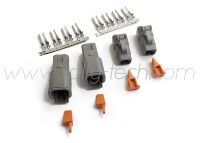 DTM 4 PIN SEALED MOTORSPORT CONNECTOR PLUG KIT - TWIN PACK - UNIVERSAL